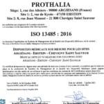 Aperçu certificat ISO 13485 Prothalia 2020